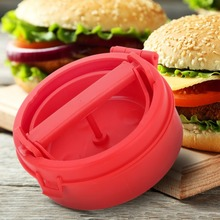 1pc Red Stuffed Burger press Hamburger Mold Ham Marker BBQ Patty Maker Plastic Cooking Accessories DIY Meat Poultry Kitchen Tool