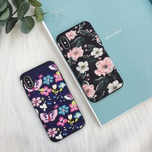 maosenguoji Silk pattern Lotus Blooming butterfly flowers case Mobile Phone Case for iphone6 6s 6plus 7plus 8plus X fashion case(China)