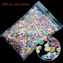 Hot 1000 pcs Nail Art 3d Fruits Mélange Conçoit Minuscule Fimo Tranches D'argile de Polymère DIY Beauté Ongles Autocollants Décorations
