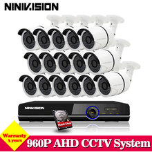 NINIVISION 16CH DVR CCTV System HD video surveillance 960P camera kit 1.3MP 2500tvl camera hdmi 1080p output USB 3G WIFI 1TB HDD