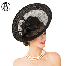 FS British Style Black Linen Wedding Dress Hat For Women  Ladies Elegant Summer 2017 Royal Large Brim Kentucky Derby Hats