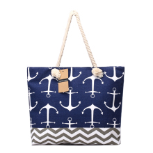 Women Bag Large Capacity Handbags Large Capacity Canvas Tote Bags Navy Style Patchwork Beach Bag Anchor Printed Big Totes