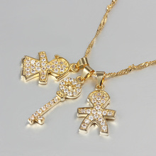 Gold Boy and Girl Key Cable Chain Zircon Crystal Necklace Charm Pendant Chain Fashion Jewelry Women Favorite Good Gift