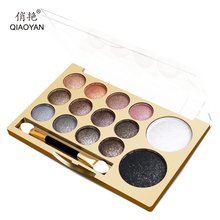 14in1 Nude Eyes Makeup Shimmer&Matte Eye Shadow Palette 12+2 Color Naked Smoky Glitter Eyeshadow Cosmetics Set With Big Mirror(China)