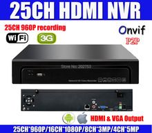 Onvif Full HD 25CH 960P 16CH 1080P NVR Network Video Recorder Supports 3G Wifi For IP Camera P2P Cloud Service HDMI Easy Access