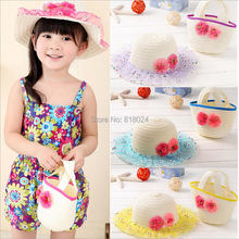Retail Promotion Lovely Flowers Kids Girl Cute Summer Beach Sun Protection Straw Hat Flower Cap Bag Glacier Cap