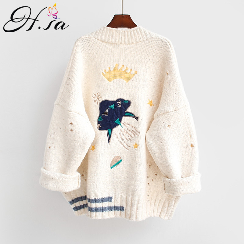 HSA 2020 Autumn Winter Women Sweater Cardigans Cartoon Embroidery Cardigans Poncho Single Breasted Knit Sweater Harajuku out Top