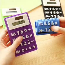 Portable Mini Solar Power Calculator Cute Foldable Silicone Pocket Energy Calculator for Office Student Gift Free Shipping New