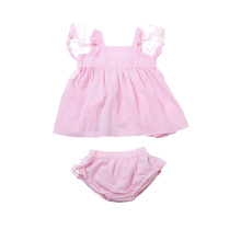 2Pcs Cute Lace Edge bay clotes set Newborn Toddler Baby Girls sleeveless Tops+Shorts outfits set(China)