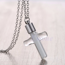 Hot Fashion Novalty Luminous Steampunk Magic Fairy Locket Glow In The Dark Cross Pendant Chain Necklace-W128