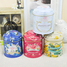Big Size 11x9cm Pink Yellow Blue Flowers Drawing Style Kitchen Tea Sugar Coffee Storage Tin Box Portable