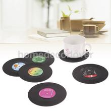 6pcs Round Retro CD Vinyl Coaster Record Cup Coffee Drink Holder Mat Table Placemat Tablewar Creative Home Decor