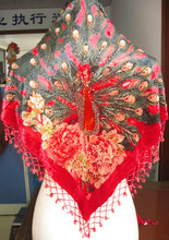 Free Shipping!!!! Hot Sale Women's Red Handbeaded Bead Triangle Silk Velvet Shawl/Scarf Peacocks