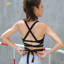 Colorvalue New Sexy Cross Bandage Yoga Bra Women Beautiful Padded Dance Sports Bras Anti-sweat Workout Fitness Top Underwear