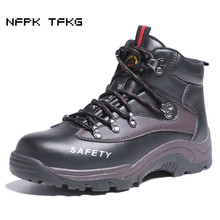 super big size 47 48 men fashion steel toe caps working safety shoes spring autumn genuine leather tooling ankle boots zapatos(China)