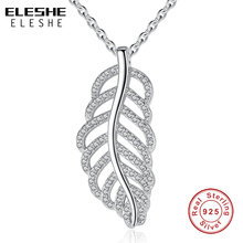 ELESHE 100% Pure 925 Sterling Silver Majestic Phoenix Feathers Wings Vintage Pendant Necklace For Women Jewelry Best Friend Gift(China)