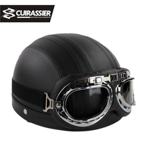 Cuirassier CH08 Motorcycle harley helmet half face capacete casco motorbike goggles casque moto rider Scooter Motobike Black