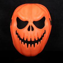 Creepy Pumpkin Mask Halloween Decorative Face Mask Terror Ghost Party Full Face Orange Mask