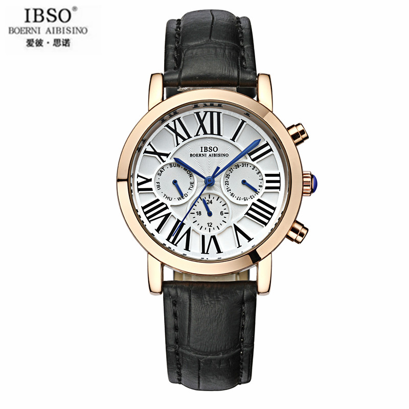 IBSO Man Watches Big Dial Watches Waterproof Leather six Stitches Quartz Watch Male Table Delicate Wrist Watch Male Trend<br>