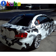 Jumbo Black White Snow Camouflage Vinyl Car Wrap Urban Arctic Camo Film Graphic Full Car Body Color Change Sticker