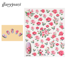 1 Piece Nail Art Sticker Pink Rose Flower Pattern Design Polish Decal Manicure Tips Tool Nail Sticker DIY Sexy Product New DP105(China)