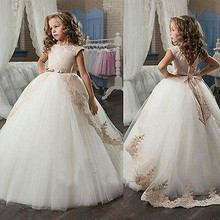 2017 Tulle Ball Gown Flower Girl Dresses Ivory And Champagne Lace Applique Belt Floor Length First Communion Dress For Girls