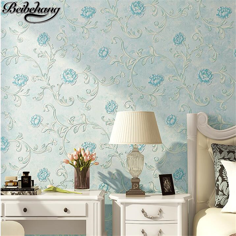 beibehang Pastoral wallpaper bedroom warm wedding room pastoral small floral non-woven wallpaper 3d fresh living room wall paper<br>