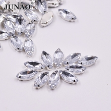 7*15mm Sewing Clear Crystal Silver Claw Rhinestones Sew On Acrylic Stones Horse Eye Fancy Flatback Strass for Clothes Dresses