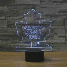 3D Table Lamp Ice Hockey Team Logo Toronto Maple Leafs Color Changing LED Night Light Decor Bedroom Lighting Sport NHL Fans