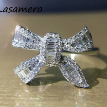 LASAMERO Ring For Women 0.362CTW 18k White Gold Ring Round Cut Bowknot Shape Natural Diamond Ring  Engagement Wedding Ring