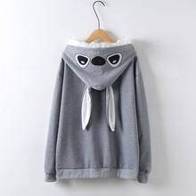 Japan Style Spring Autumn Women Hooded Pullover Cute Gray White Navy Blue Lovely Coat Outerwear(China)