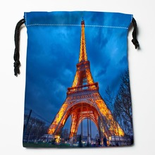 Best Paris Eiffel Tower Drawstring Bags Custom Storage Printed Receive Bag Compression Type Bags Size 18X22cm Storage Bags(China)