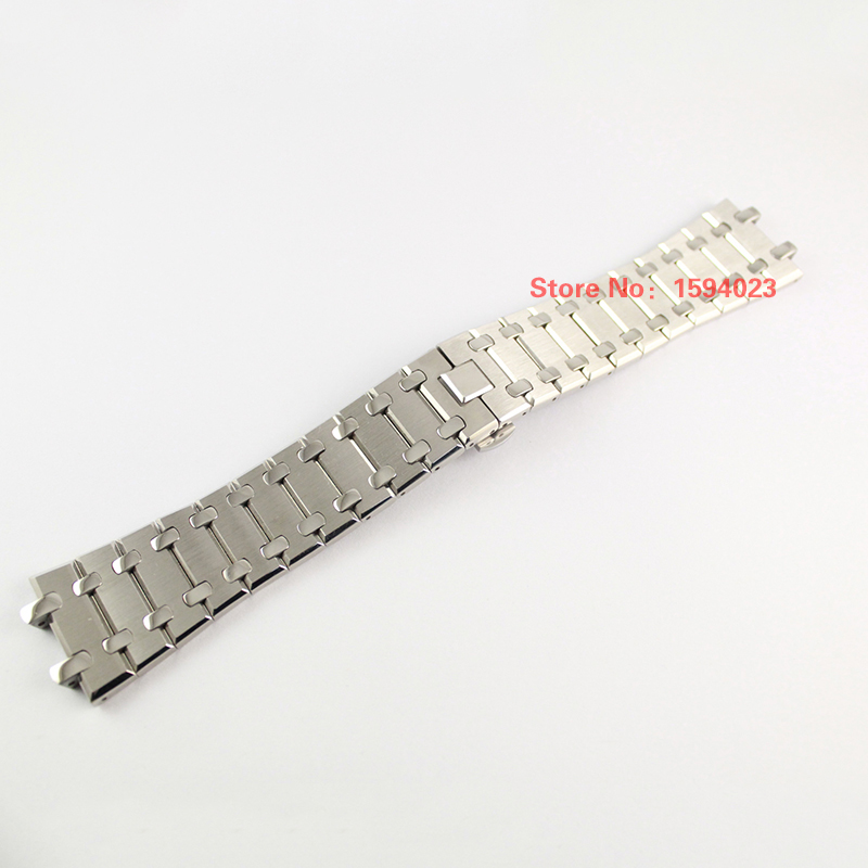 28mm Silver Watchband Wrist Strap Solid Stainless Steel Butterfly Safety Buckles For AP <br>