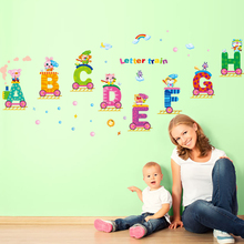[SHIJUEHEZI] Removable English Letters Train Wall Sticker Alphabet DIY Animal Wall Decals for Kids Rooms Kindergarten Decoration(China)