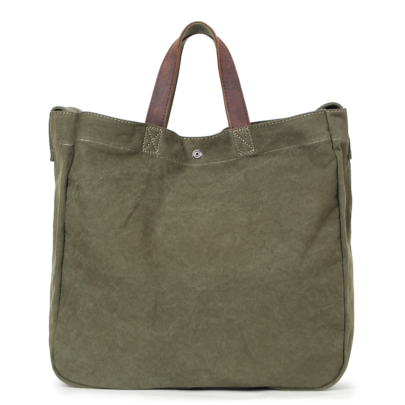Simple Design Army Green Canvas Handbag Large Capacity Casual Tote For Women &amp; Men Shoulder Bag Messenger Crossbody Bags G026<br>
