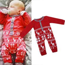 Winter Overall for Kids Red Baby Christmas Jumpsuit Knitting Children's Winter Rompers Wool Warm Baby Clothes Set Deer Snowflake
