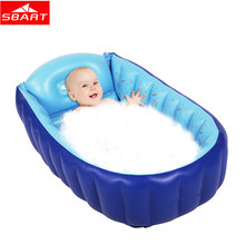 SBART Portable Baby Bathtub Swimming Pool Inflatable PVC Keep Water Warm Home Travel Baby Kid's Bathtub Swimming Pool 90x55x25cm(China)