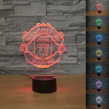 Creative Manchester The Red Devils FC Night Light lamp Football Fans 3D LED NightLight Acrylic Colorful Gradient Atmosphere Lamp(China)