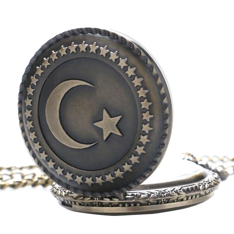 Vintage Bronze Cute Stars Circle Moon 3D Carving Quartz Pocket Watch Necklace Pendant Men Women Unisex Clock Birthday Gifts saat (4)