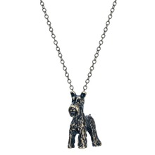 QIAMNI 3D Realistic Schnauzer Dog Breed Animal Unique Necklaces & Pendants Gift for Women and Girls