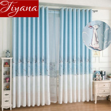 Rabbit Curtains Blue Prints Window Kids Curtains For Bedroom Curtains Tulle Design Curtains Living Room Drapes Rideaux X237 #30