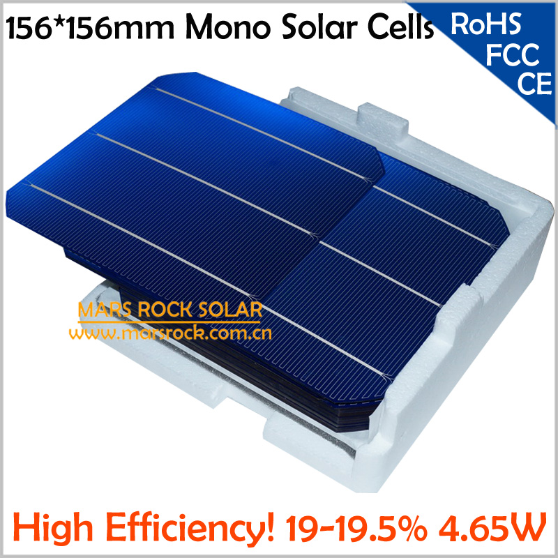 100pcs Monocrystalline Silicon Solar Cells 156x156mm, A Grade High Efficiency 19.5%,4.65W, 0.5A, Buy PV Cells Get Free PV Ribbon(China (Mainland))