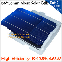100pcs Monocrystalline Silicon Solar Cells 156x156mm, A Grade High Efficiency 19.5%,4.65W, 0.5A, Buy PV Cells Get Free PV Ribbon(China)