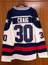 New Men 1980 Miracle On Ice Team USA Jim Craig 30# Hockey Jersey  White