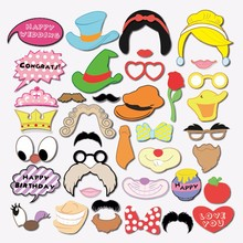 38 pcs Snow White Photo Booth Props Glasses Mustache Lip Kids Birthday Party Decoration Kids Fun Favors Photocall Party Supplies