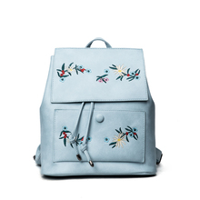 Women Backpack Floral Embroidery Backpacks Blue PU Leather Bag Teenage Girls School Bags Draswstring Retro Solid Mochila