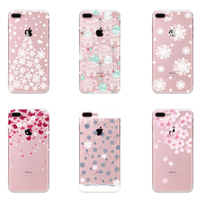 2017 Fashion Christmas Snowflake Phone Case For iPhone 7 6 6s Plus 5 5s Transparent Soft TPU Peach Flower Cases Clear Back Cover