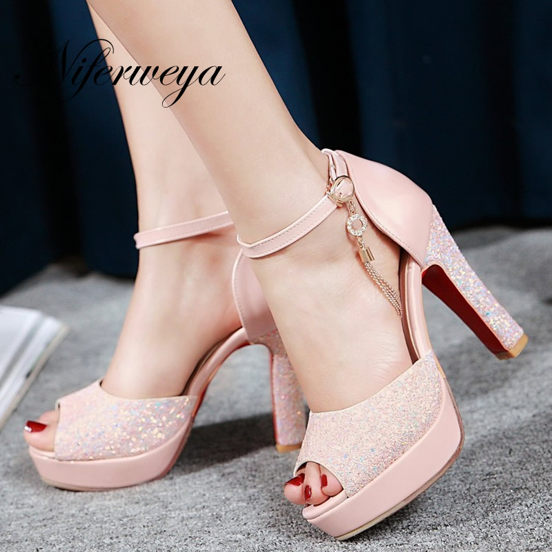 Big size 32-48 Summer Ankle Strap pink women wedding shoes sexy Peep Toe Buckle Strap platform High heel Sandals zapatos mujer<br>
