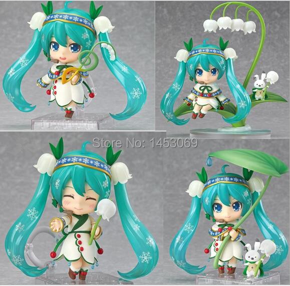 4pcs/set Hatsune Miku Snow Miku 2015 PVC Action Figures Collectible Model Toys 4 10CM<br><br>Aliexpress