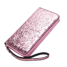 Bling Sequined Clutch Wallets Women Blingbling Leather Long Purse for Lady Money Bags for Ladies Feminina Purse Card Holder(China)